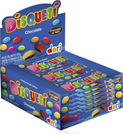 Disqueti Chocolate Confeitado 18x40g - Dori