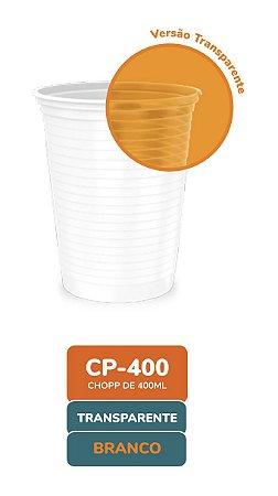Copo descartável 400 ml transparente frisado com 50 unidades - Minaplast