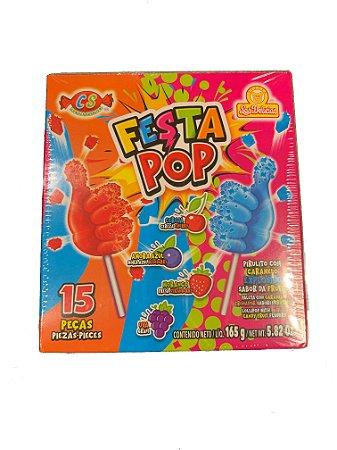 Pirulito Festa Pop com caramelo explosivo c/ 15 Un.