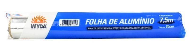 Rolo Folha De Alumínio Wyda - 7,5 Metros X 30 Cm
