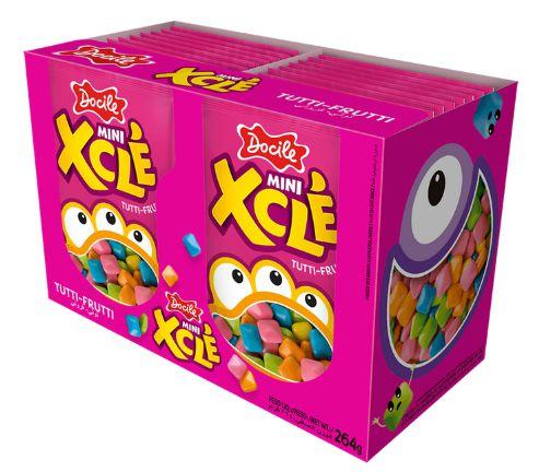 Mini Chicles Xclé Tutti-frutti com 24 pacotes de 11g - Docile
