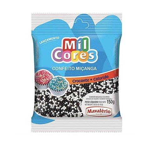Confeito Crocante de Miçanga Branca/Preta N°0 150g - Mavalério