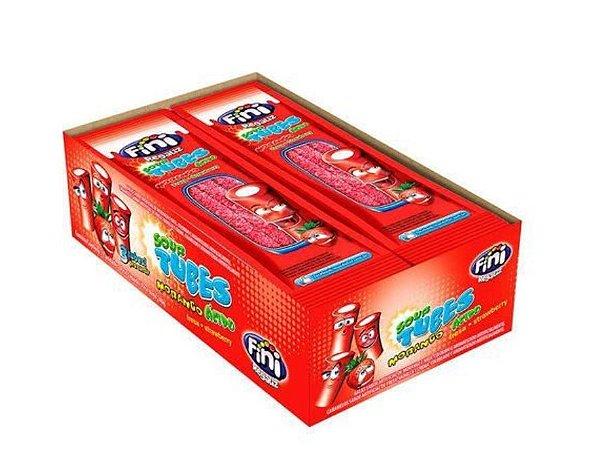 Bala tubes morango ácido - com 12 unidades de 17 g cada - Fini