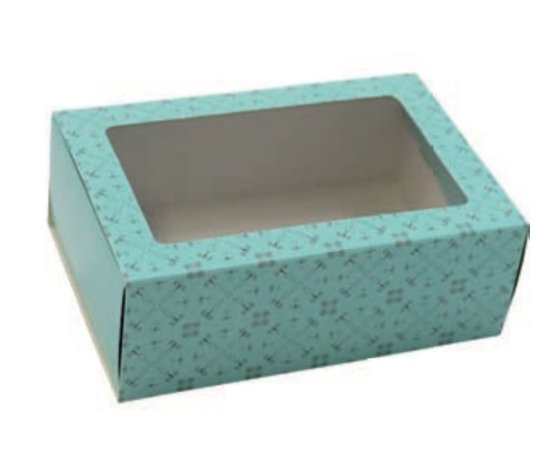 Caixa gaveta com visor azul turquesa para 6 doces gourmet (cód. 1010) - Ideia