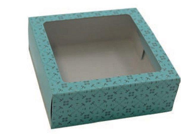 Caixa gaveta com visor cor turquesa ( 9 doces gourmet ) - Ideia
