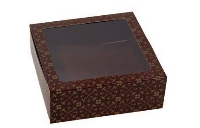 Caixa gaveta com visor cor Marrom (9 doces gourmet) C/10 Unid - Ideia