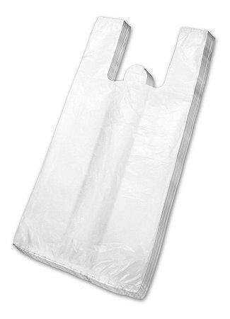 Sacola plástica branca (30x40cm) c/ 100 unidades - Rosso