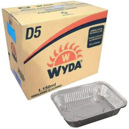 Bandeja de alumínio retangular D5 c/ 100 unidades - Wyda
