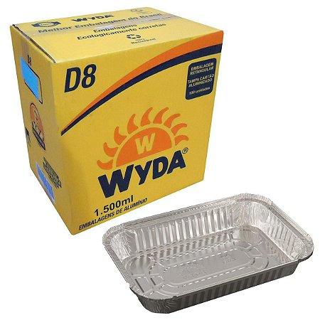Bandeja de alumínio retangular D8 c/ 100 unidades - Wyda