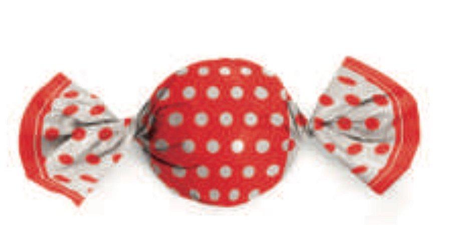 Embalagem para trufa decorado Poá Vermelho/Branco 15x16- Packpel