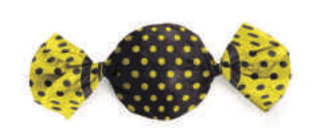Embalagem para Trufa Poá Preto/Amarelo 15x16cm- Packpel