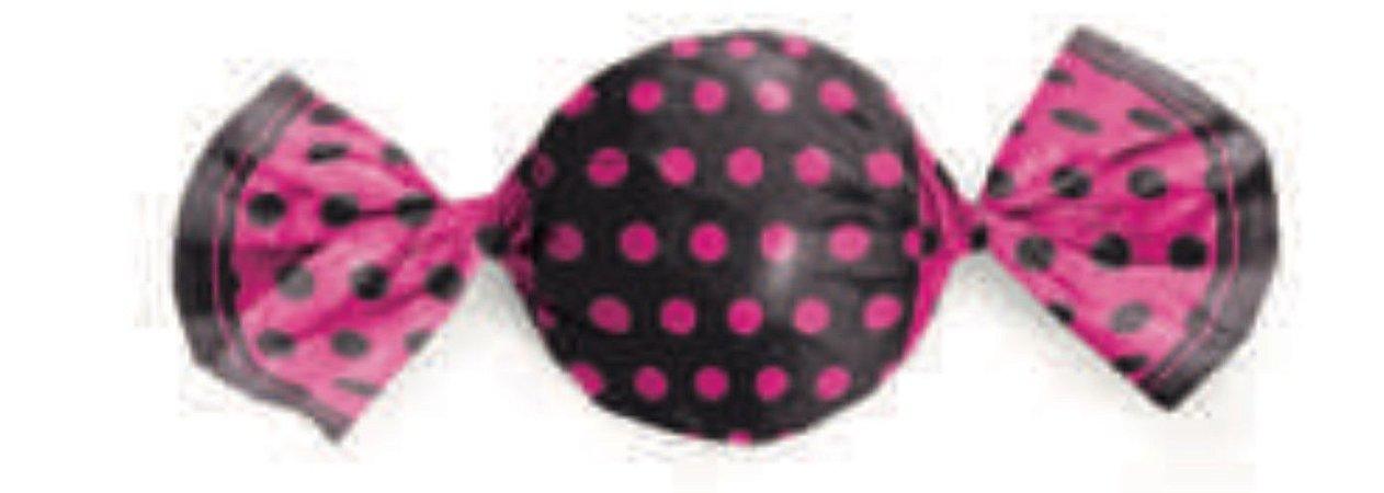 Embalagem para Trufa Poá Preto/Pink 15x16cm- Packpel