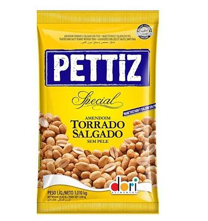 Amendoim Pettiz Salgado Torrado Sem Pele 1,010kg - Dori