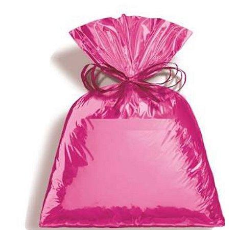 Saco Metalizada Para Presente Cor Pink  35x54 cm c/ 50 unid- Packpel