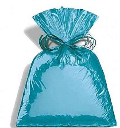 Saco Metalizado Para Presente  cor Azul Claro 35x54cm - Packpel