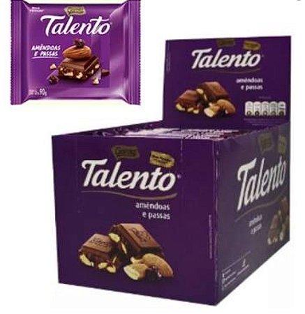 Chocolate Talento Ao Leite Com Amêndoas e Passas 12 unidades de 90g  - Garoto
