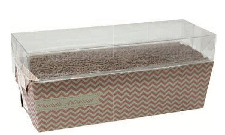 Caixa para bolo forneável com tampa Chevron (cód. 2157) c/ 10 un - Ideia