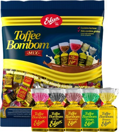 Bala Toffe Bombom Mix 500g - Erlan