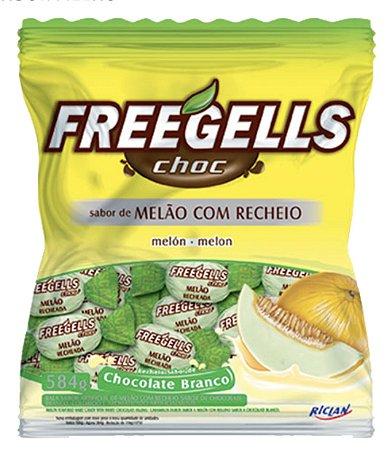 Bala Dura Melão com recheio Chocolate Branco  Freegells 584g - Riclan