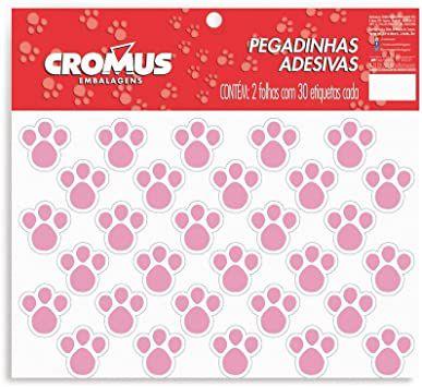 Pegadinhas adesivas rosas 2 folhas com 30 cada - Cromus