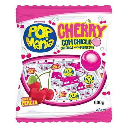 Pirulito Pop Mania Cherry 600g com 50 Unidades - Riclan