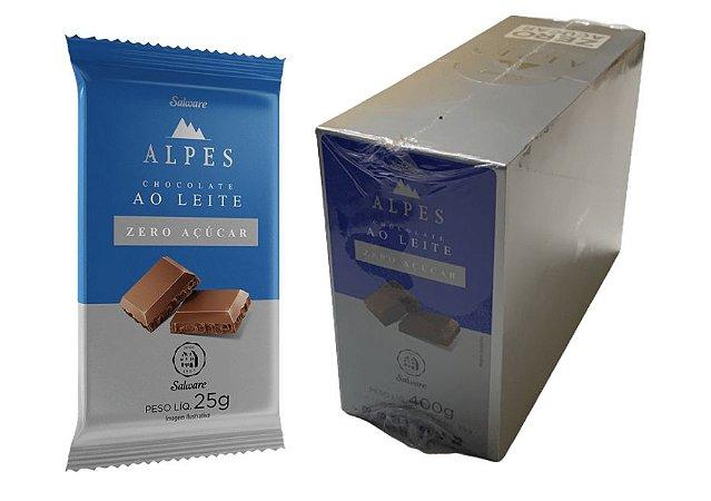 Chocolate Alpes zero açúcar ao Leite com 16 unidades de 25g - Salware