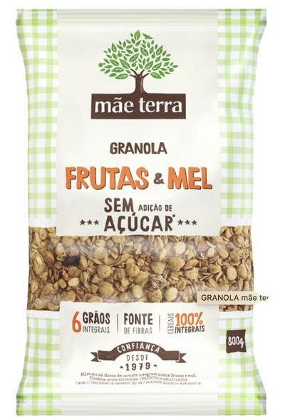 Granola frutas&Mel sem açúcar  800g - Mãe terra