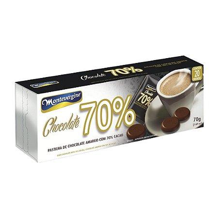 Pastilha de Chocolate 70% Cacau com 20 unidades - Montevergine