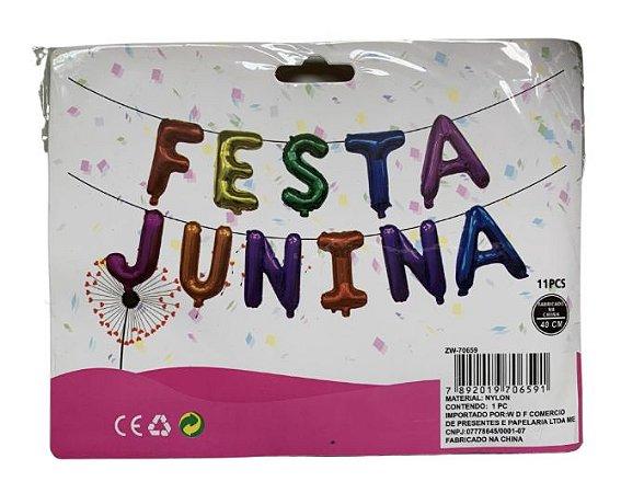 Kit Balão festa junina com 11 letras e fitilho