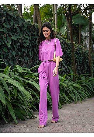 Conjunto manga curta violeta