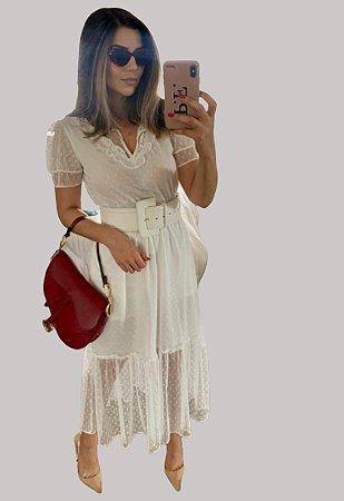 Vestido midi tule branco