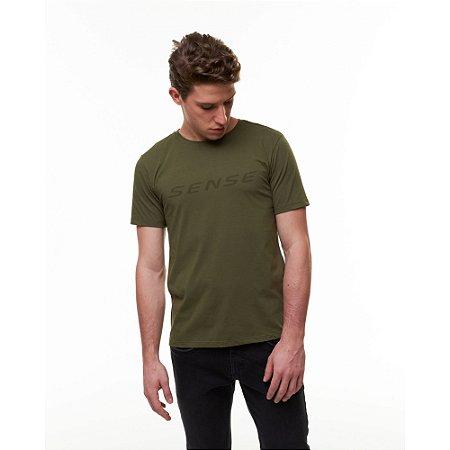 Camiseta Masculina Logo Verde Militar - Sense
