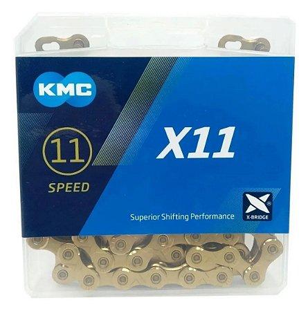 Corrente 11v X11 TI-Dourada 118 Elos - KMC