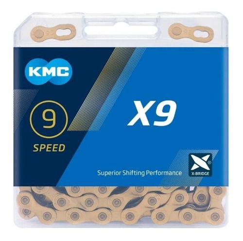 Corrente 9v X9 TI-Dourada 116 Elos - KMC