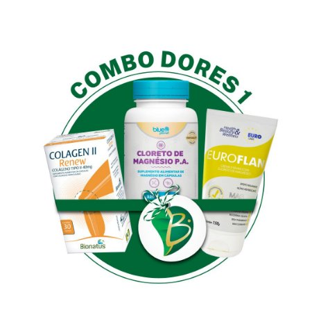 COMBO DORES 1 - COLAGEN II RENEW (BIONATUS) + CLORETO DE MAGNÉSIO P.A + EUROFLAN CREME
