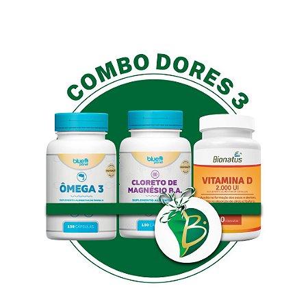 COMBO DORES 3 - ÔMEGA 3 + CLORETO DE MAGNÉSIO P.A + VITAMINA D (BIONATUS)