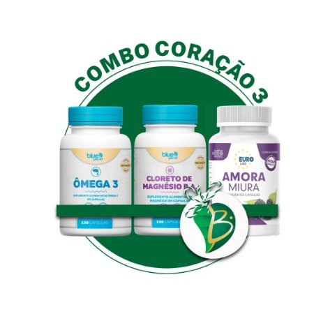 COMBO CORAÇÃO 3 - ÔMEGA 3 + CLORETO DE MAGNÉSIO + AMORA MIURA