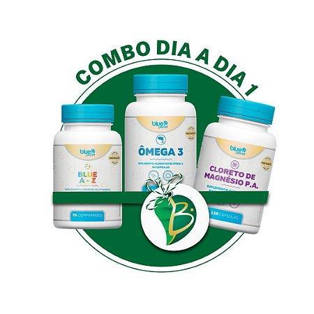 COMBO DIA A DIA 1 - BLUE A-Z + CLORETO DE MAGNÉSIO P.A + ÔMEGA 3