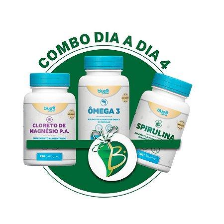 COMBO DIA A DIA 4 - CLORETO DE MAGNÉSIO P.A + ÔMEGA 3 + SPIRULINA