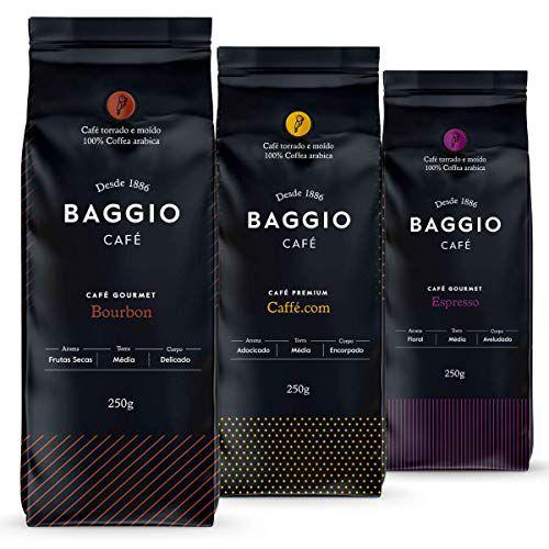 Café Em Pó Baggio - 3 Pacotes - 750g - Café Gourmet Arábica Moído