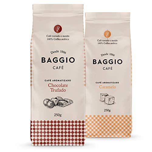 Café Em Pó Baggio, 2 Pacotes, 500g, Chocolate Trufado e Caramelo, Café Moído Aromatizado