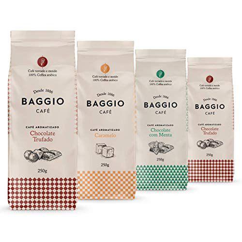 Café Em Pó Baggio, 4 Pacotes, 1.000g, Chocolate Trufado, Menta e Caramelo, Café Moído Aromatizado