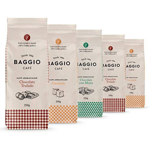 Café Em Pó Baggio, 5 Pacotes, 1.250g, Chocolate Trufado, Menta e Caramelo, Café Moído Aromatizado