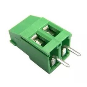 Borne 2 terminais verde - espaçamento de 3,5 mm