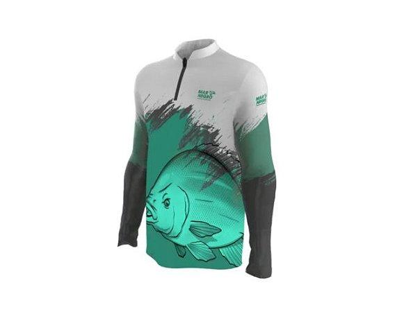 Camiseta Camisa Pesca Proteção Uv50 Mar Negro - Tilapia M