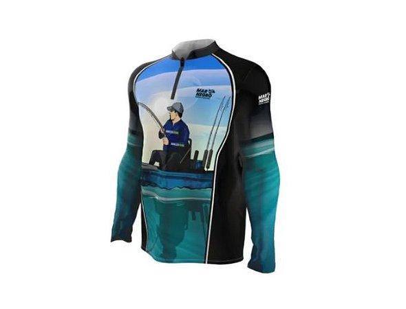 Camiseta Camisa Pesca Proteção Uv50 Mar Negro - Caiqueiro G