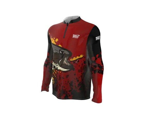 Camiseta Camisa Pesca Proteção Uv50 Mar Negro - Traírão P
