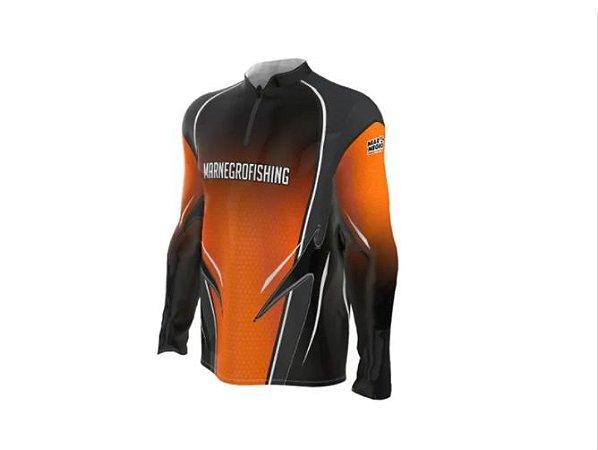 Camiseta Camisa Pesca Proteção Uv50 Mar Negro Laranja Clean G