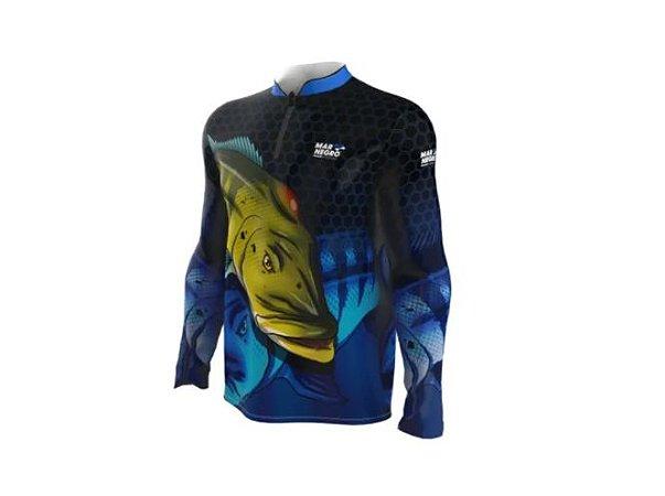 Camiseta Camisa Pesca Proteção Uv50 Mar Negro - Tucunaré A1 G
