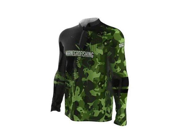 Camiseta Camisa Pesca Proteção Uv50 Mar Negro Camuf. Verde GG